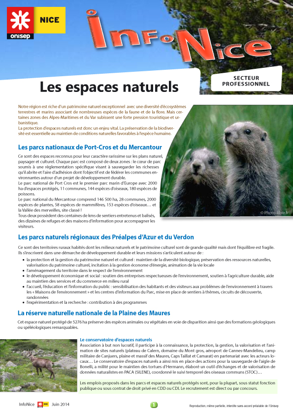 Infonice les espaces naturels onisep for Onisep paca